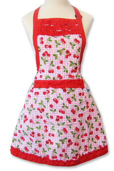 retro apron for larger ladies with cherries on red gingham fabric