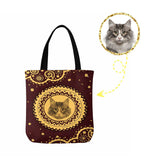 Custom Cat Face Vintage Tribal Canvas Tote Bag