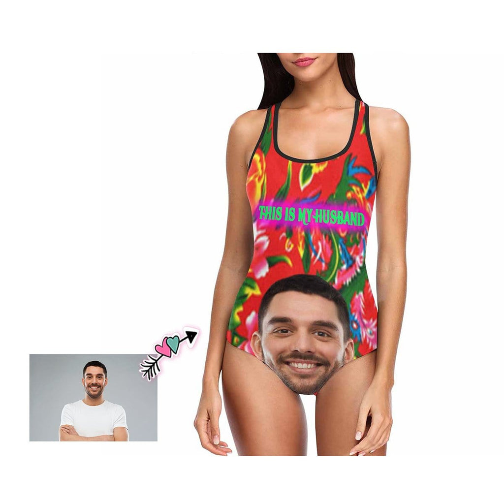 Custom Face Floral Women's One Piece Swimsuit