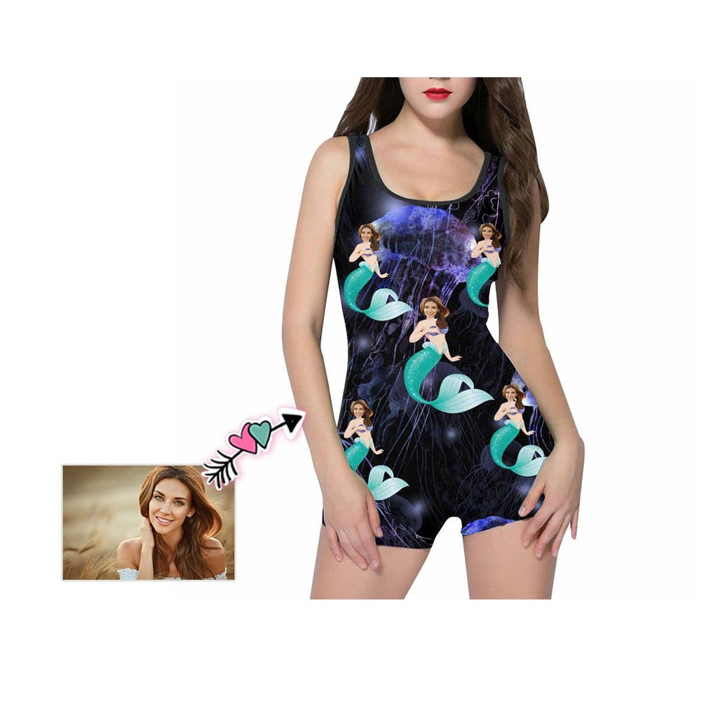 Custom Face Beautiful Mermaid Women's One Piece Boyleg Swimsuit