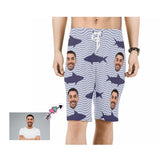 Custom Father Face Shark Men's Beach Shorts