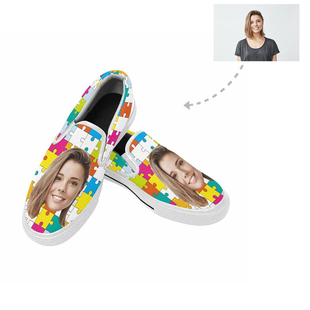 Custom Face Colorful Puzzle Slip-on Canvas Shoes