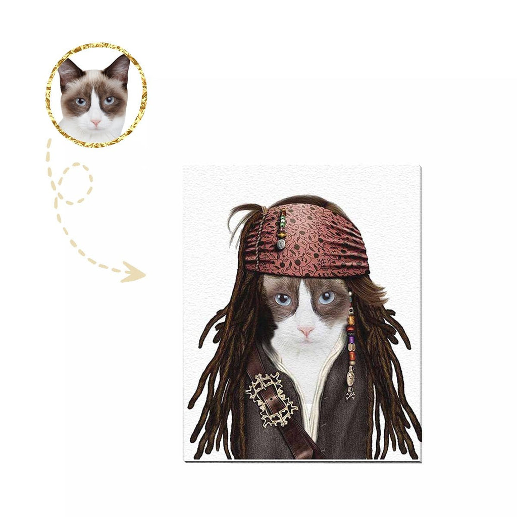"Custom Pirate Cat Face Canvas Print 16""x 20"""