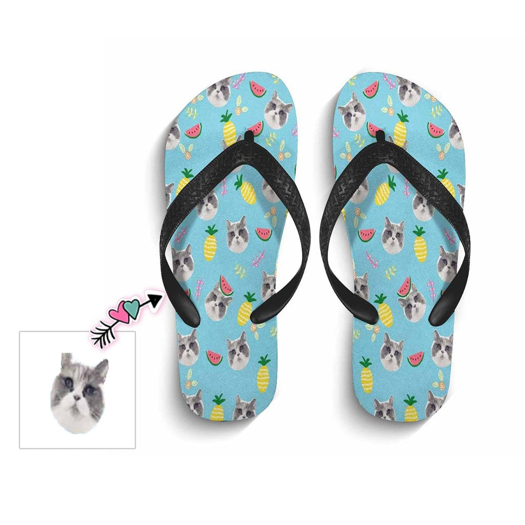 Custom Cat Face Summer Flip Flops