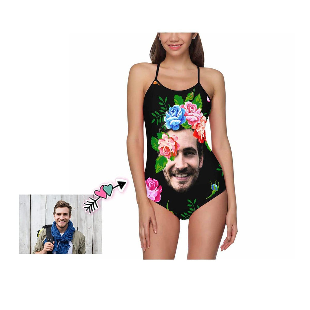 Custom Floral Face Women's Slip One Piece Swimsuit