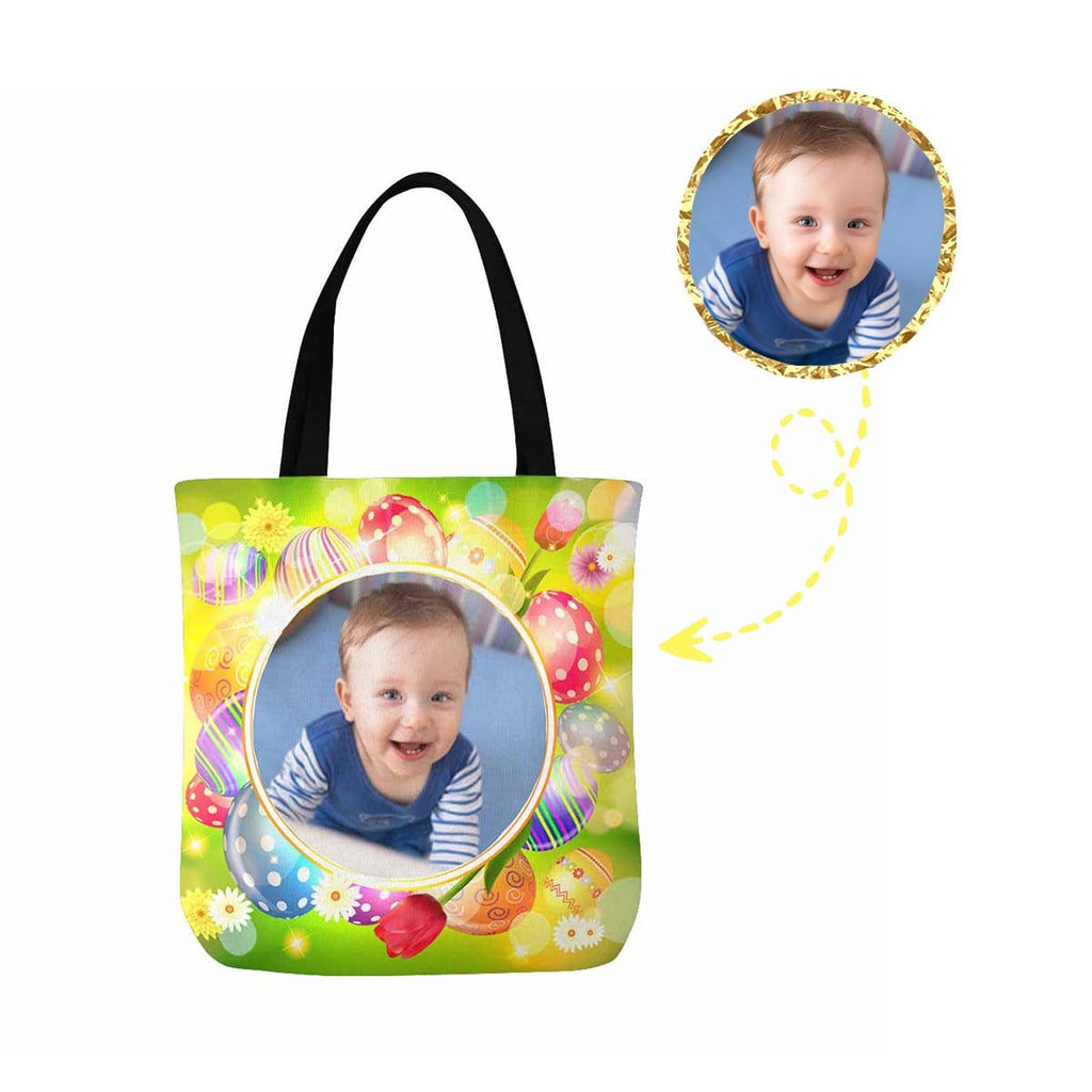 Custom Photo Easter Day Canvas Tote Bag