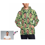 Custom Father Face Green Camo Style Men's Hoodie