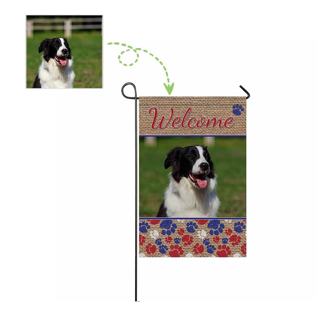 Custom Dog Photo Welcome Garden Flag