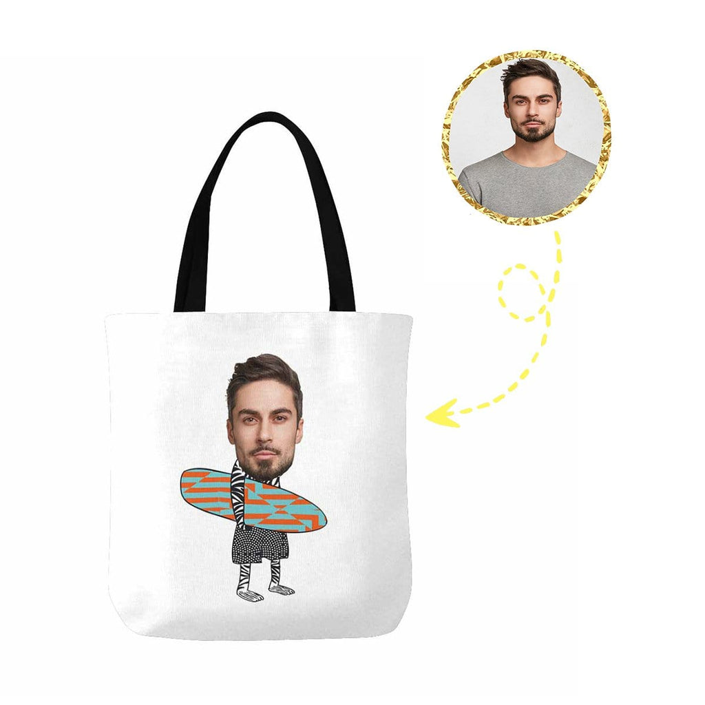 Custom Face Surfing Zebra Canvas Tote Bag