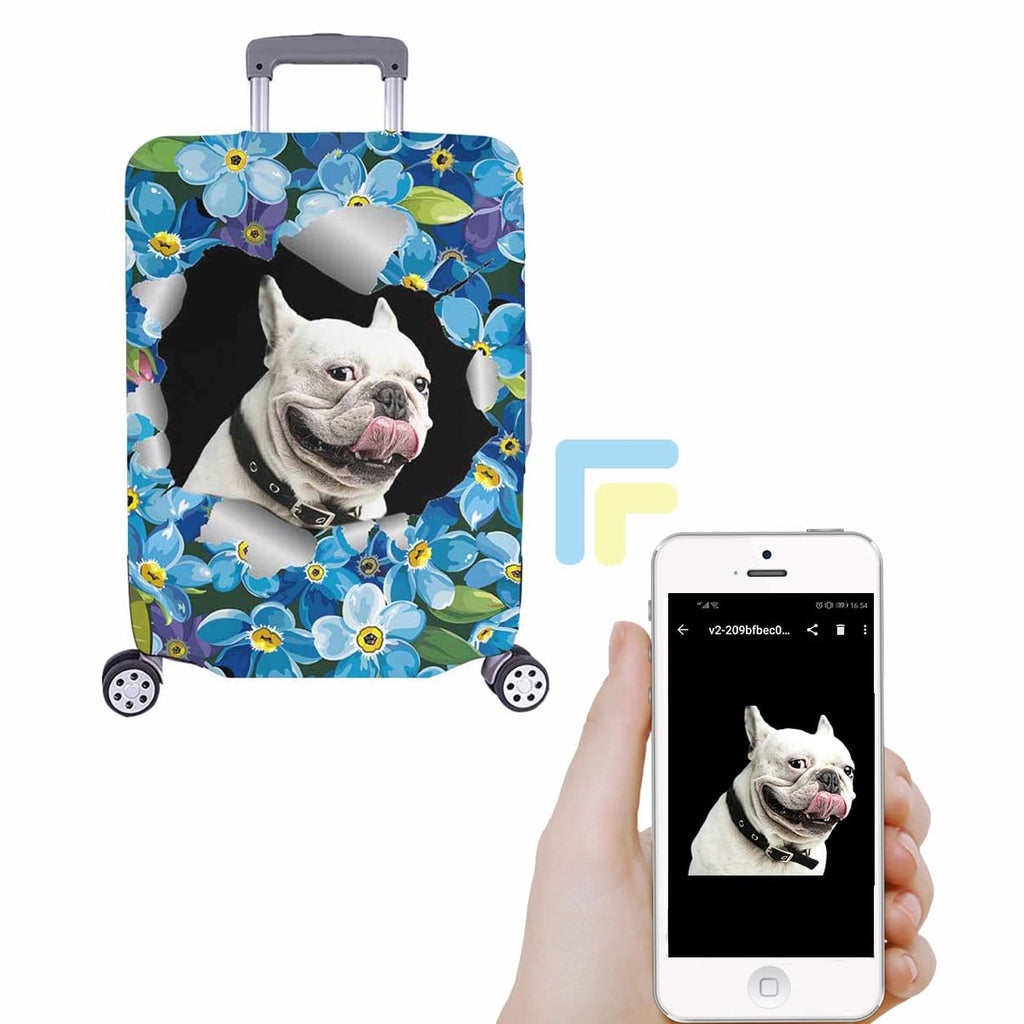 Custom Dog Face Floral Luggage Cover