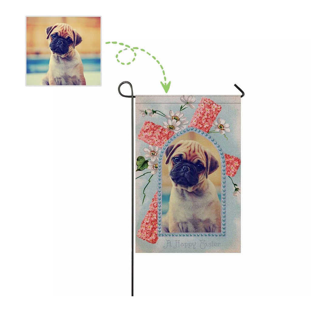 Custom Dog Photo Happy Easter Garden Flag