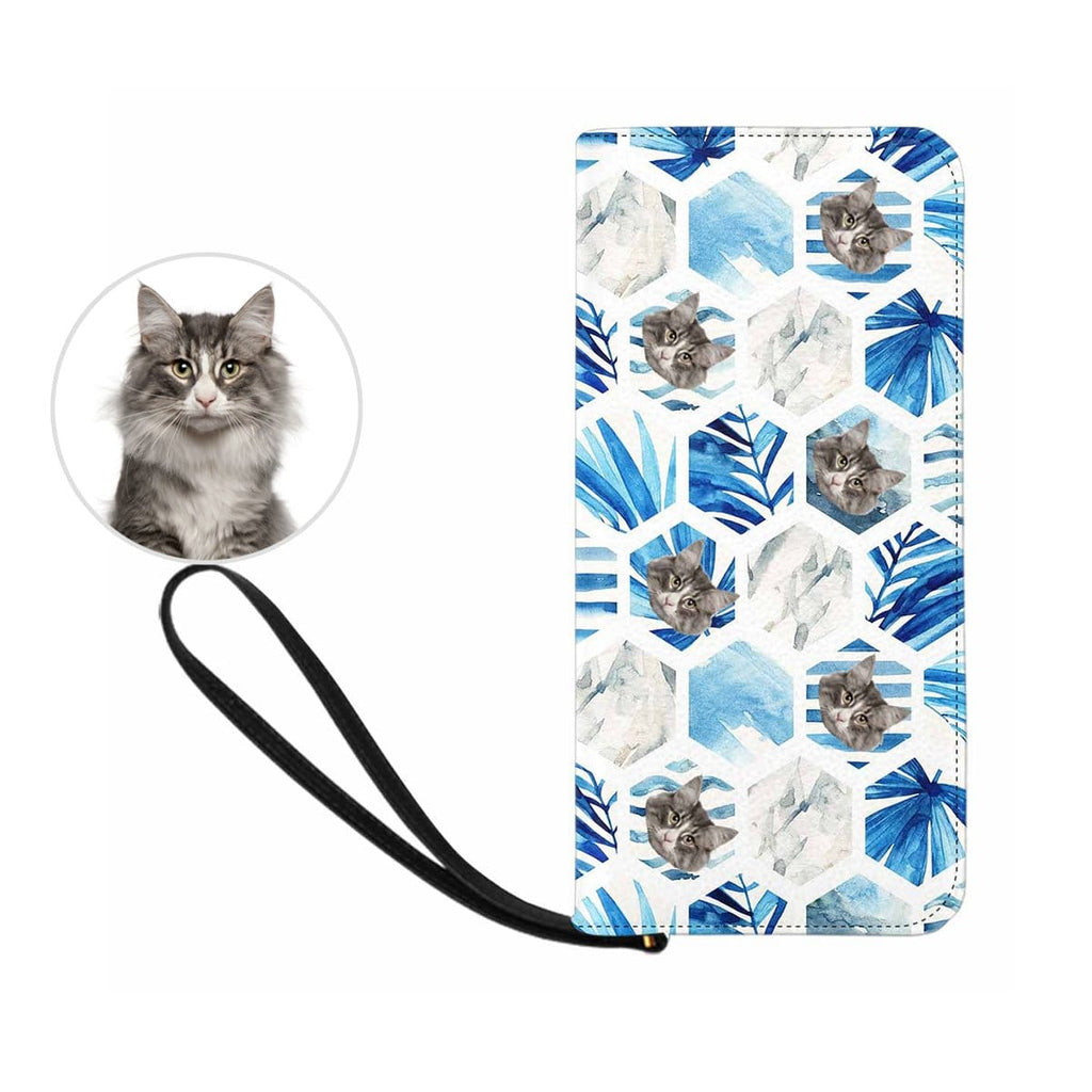 Custom Cat Face Watercolor Leaf  Women's Zip Wallet