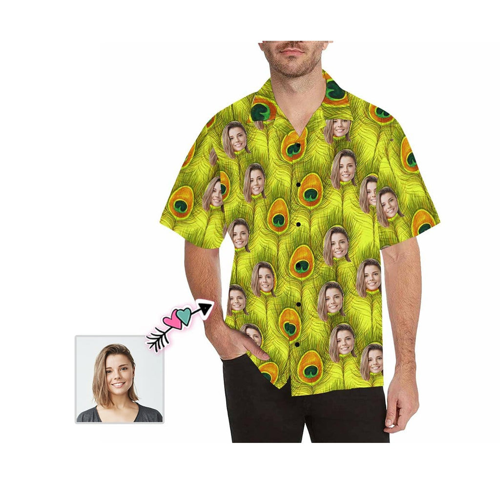 Custom Girlfriend Face Peacock Feather Men's All Over Print Hawaiian Shirt