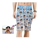 Custom Face Summer Ocean Wave Men's Beach Shorts