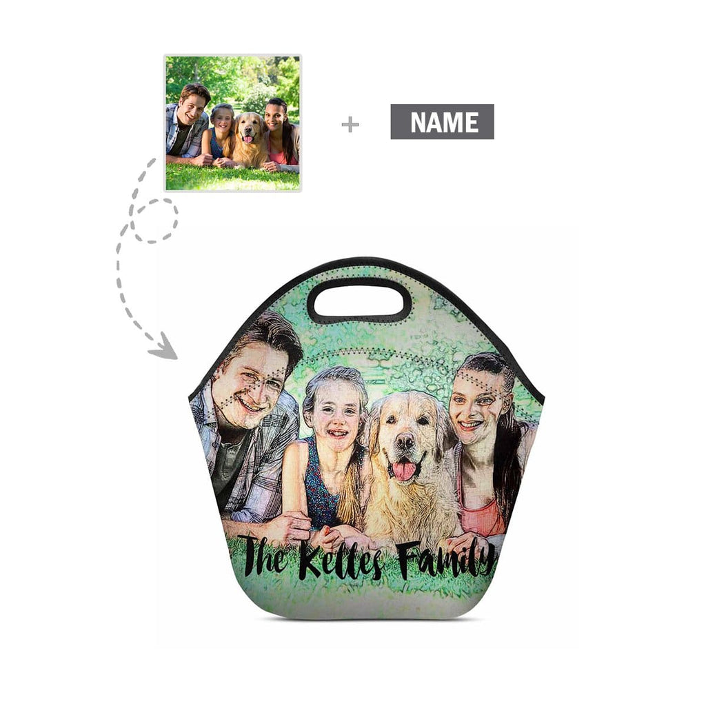 Custom Family Photo and Name Neoprene Lunch Tote