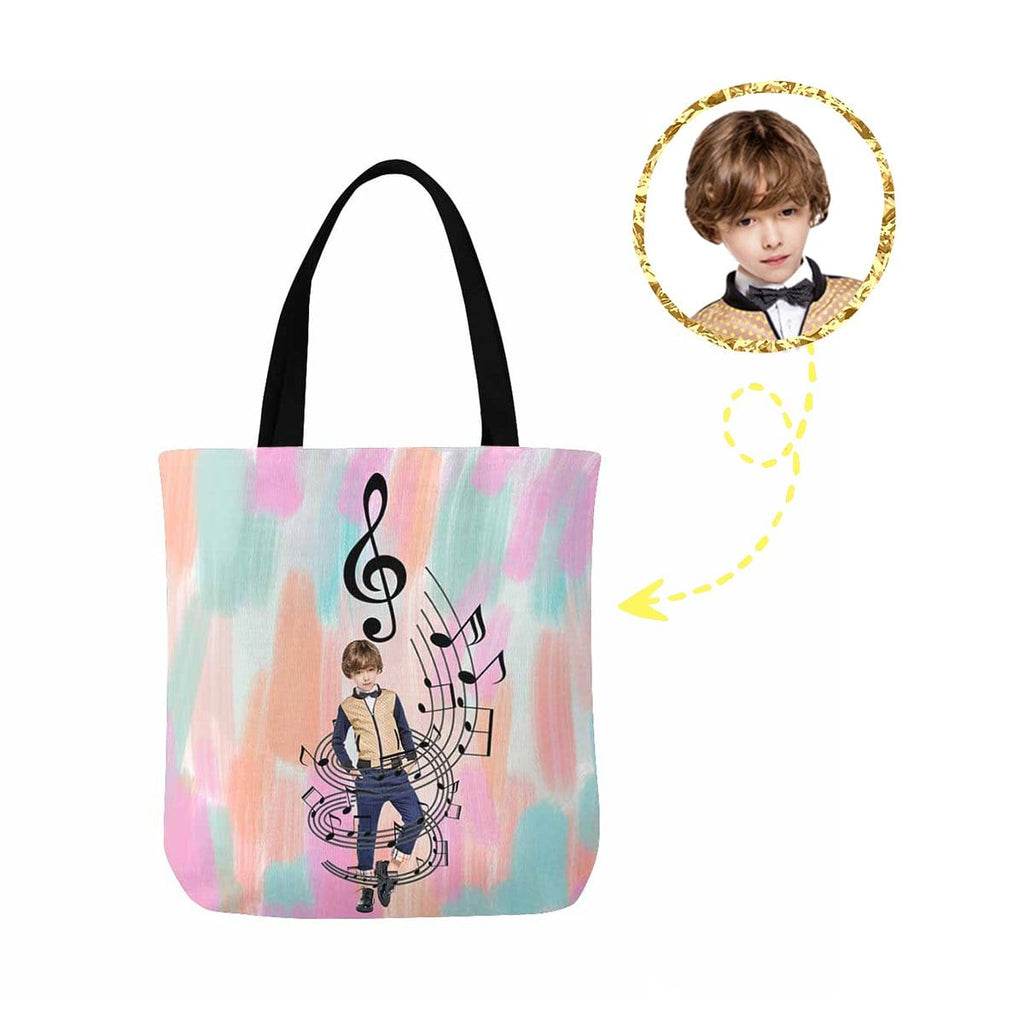 Custom Boy Music Canvas Tote Bag