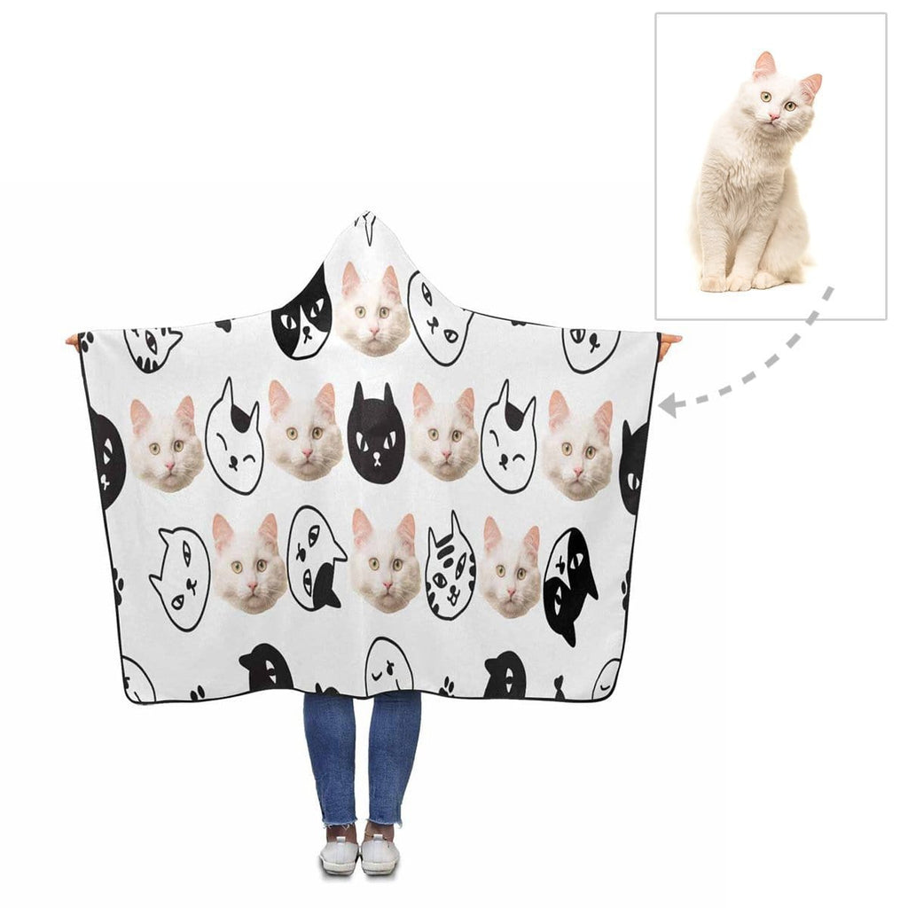 Custom Face Black and White Cat Hooded Blanket