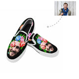 Custom Face Floral Slip-on Canvas Shoes