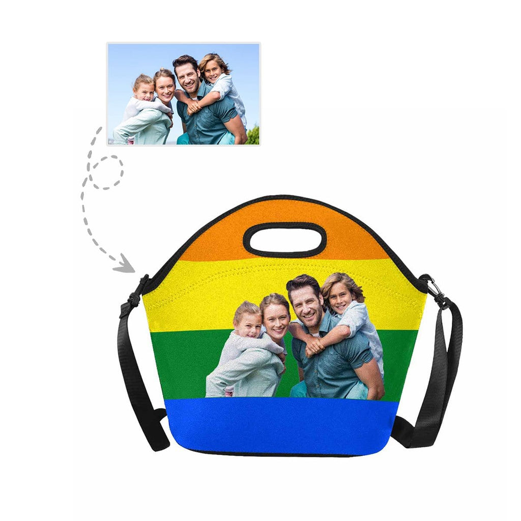 Custom Family Face Rainbow Stripe Large Neoprene Lunch Tote