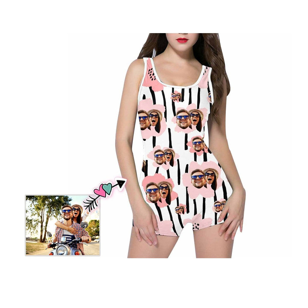 Custom Couple Face Floral Stripe Women's One Piece Boyleg Swimsuit