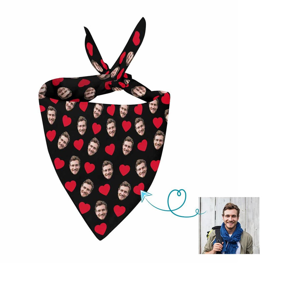 Custom Face  Love Heart Pet Bandana