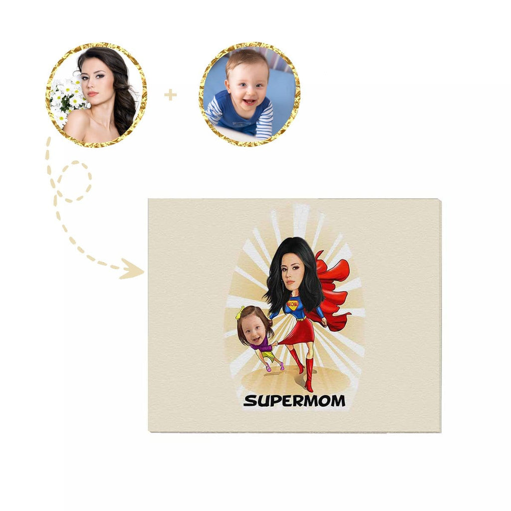 "Custom Face Super Mom Canvas Prints 20""x16"""