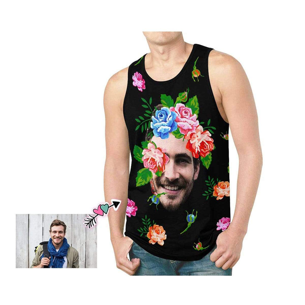 Custom Floral Father Face Men's All Over Print Tank Top
