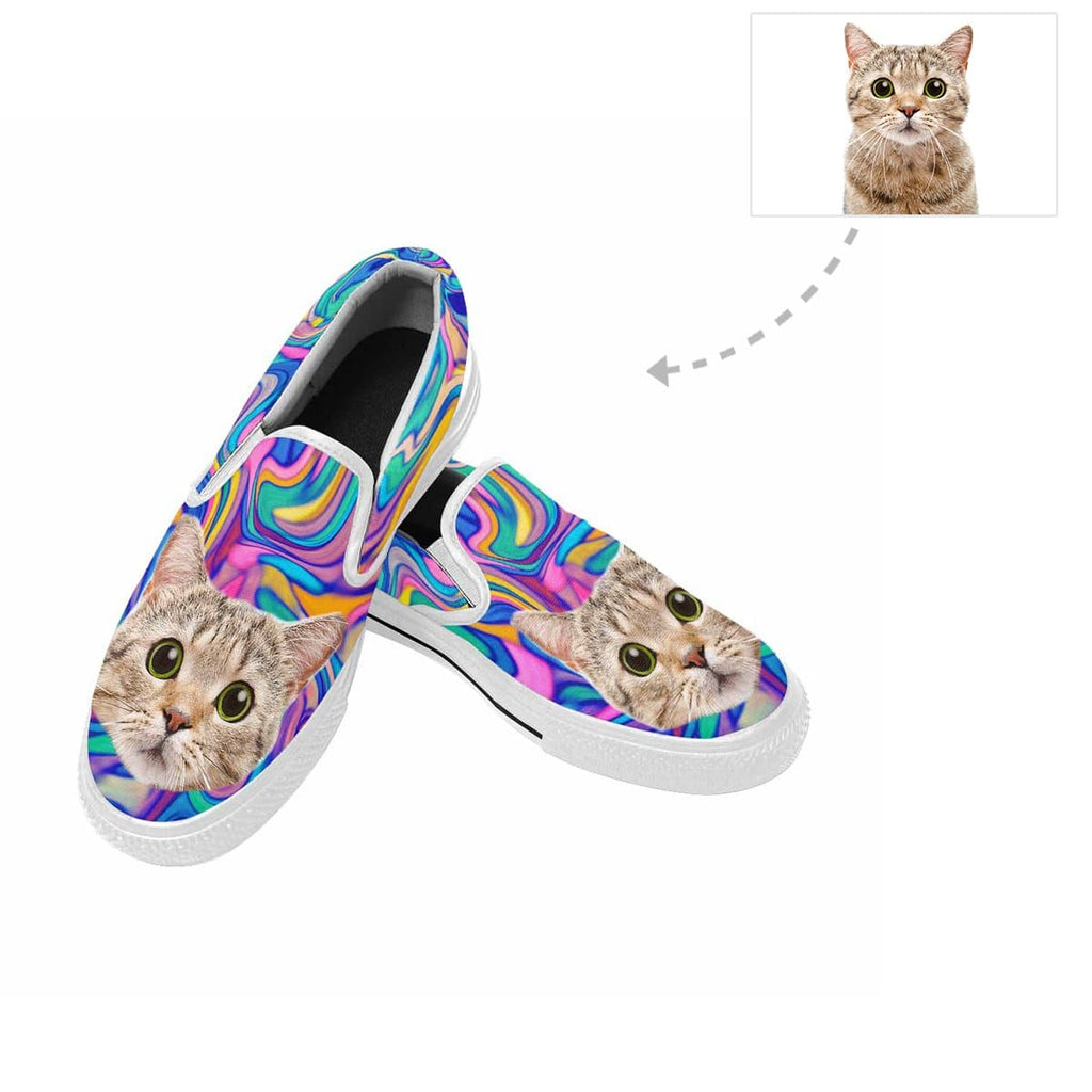 Custom Cat Face Marble Slip-on Canvas Shoes