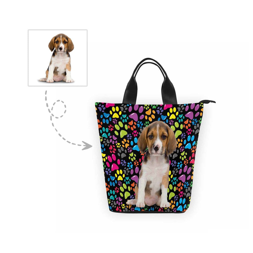 Custom Dog Colorful Paw Nylon Lunch Bag