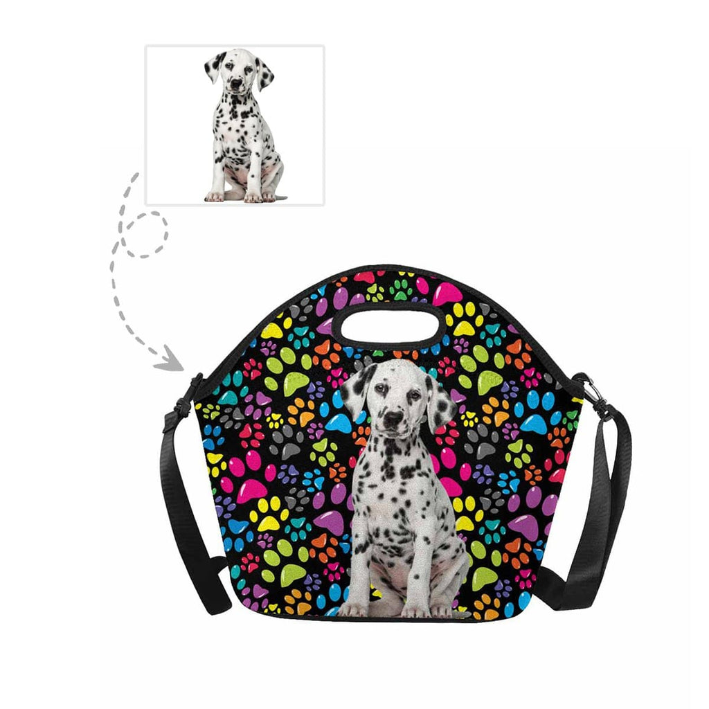 Custom Dog Colorful Paw Large Neoprene Lunch Tote