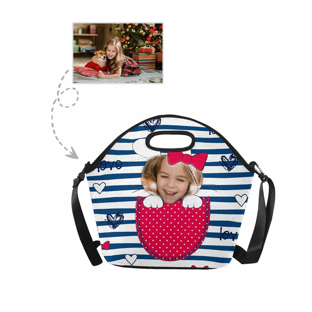 Custom Girl Face Easter Heart Stripe Large Neoprene Lunch Tote