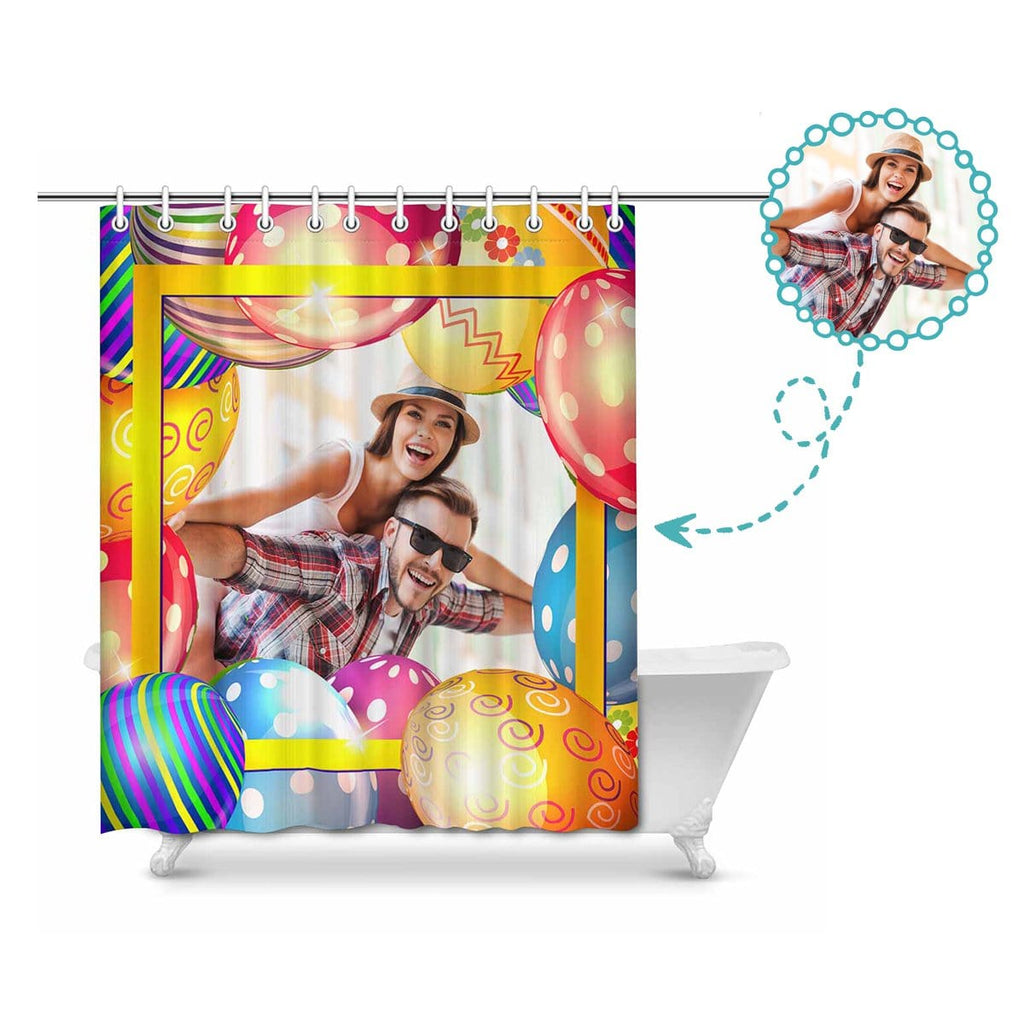 "Custom Couple Photo Easter Eggs Shower Curtain 66""x72"""