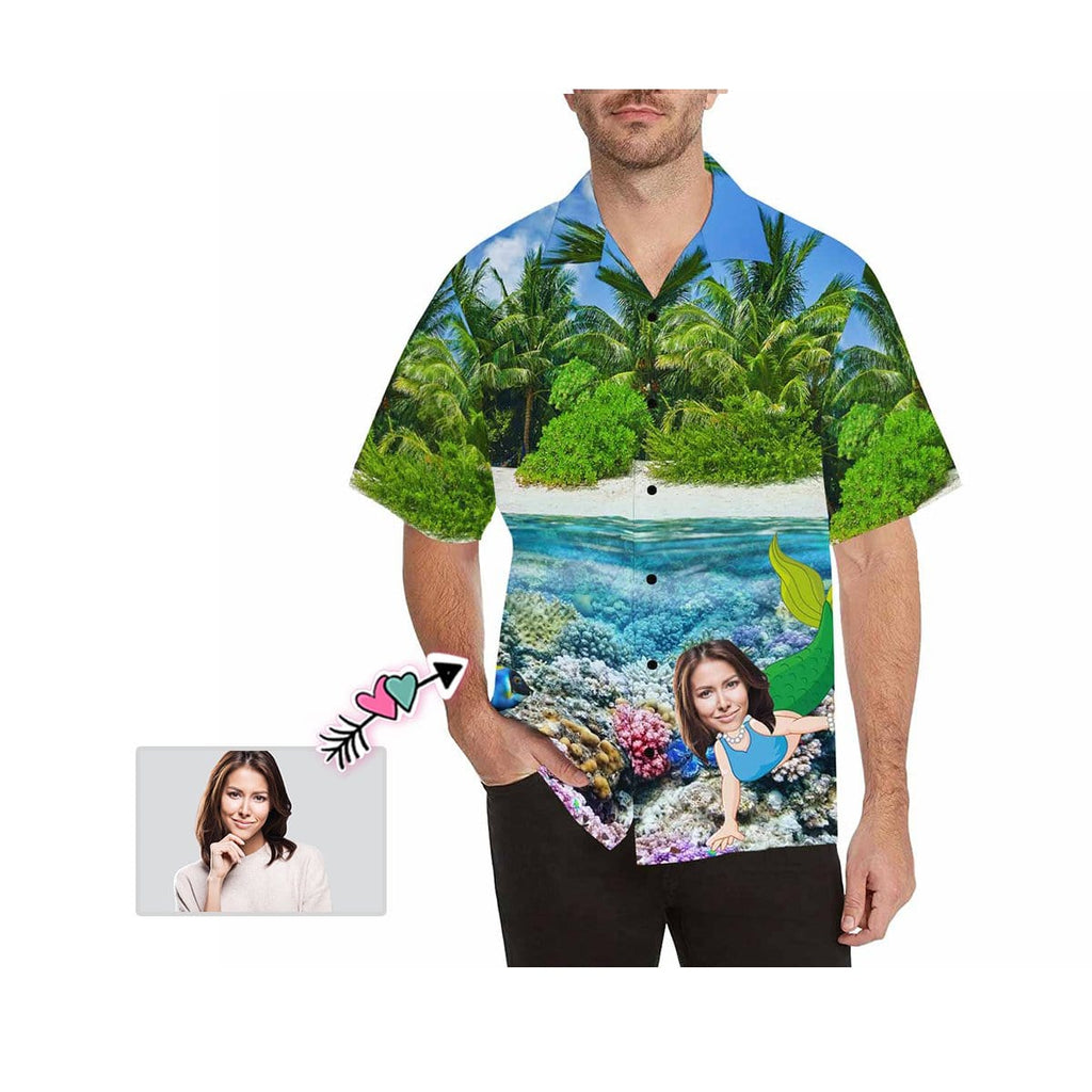 Custom Girlfriend Face Palm Tree Men's All Over Print Hawaiian Shirt