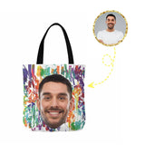 Custom Face Colorful Canvas Tote Bag