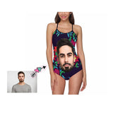 Custom Face Floral Women's Slip One Piece Swimsuit