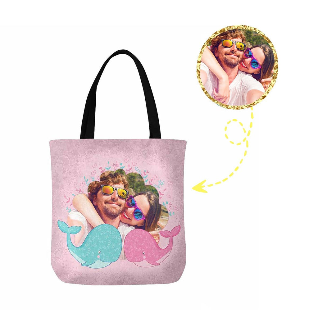 Custom Couple Photo Love Whale Canvas Tote Bag