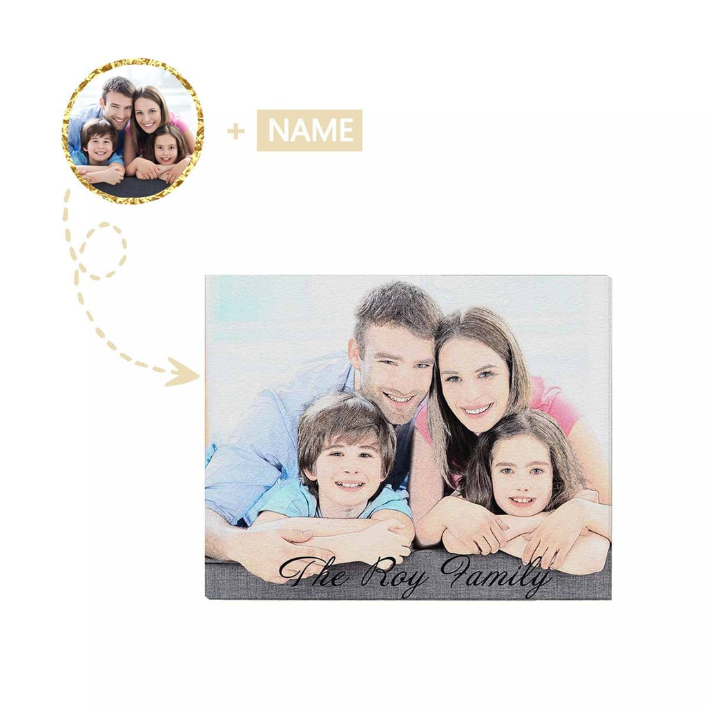 "Custom Cartoon Family Photo and Name Canvas Print 20""x16"""