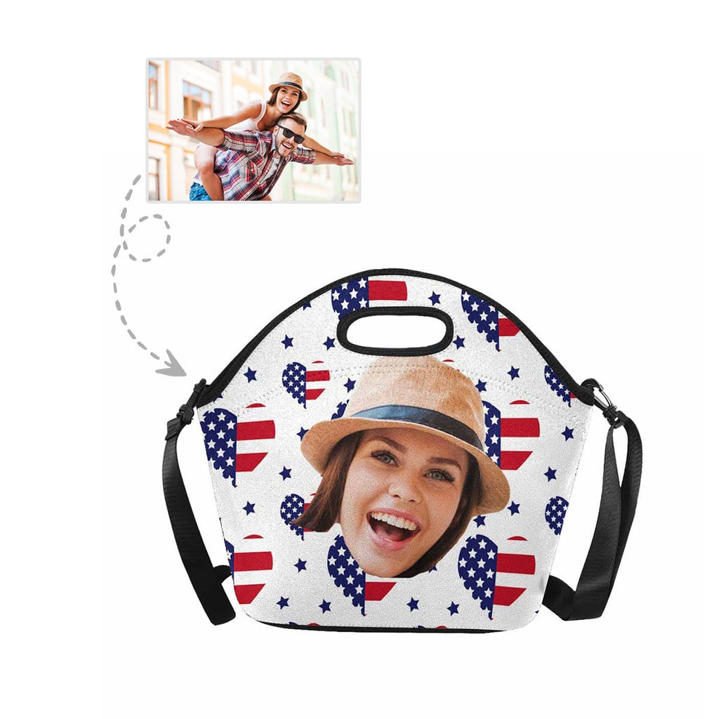 Custom Mom Face USA Flag Heart Large Neoprene Lunch Tote