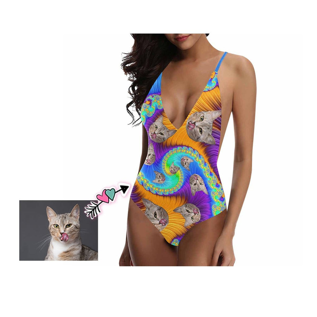 Custom Cat Face Spiral Women's Lacing Backless One-Piece Swimsuit