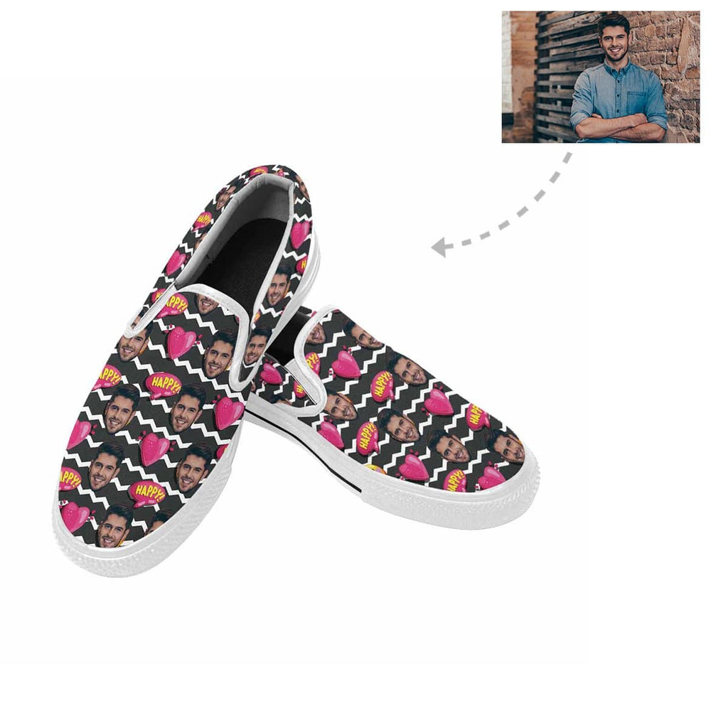 Custom Face Chevron Heart Slip-on Canvas Shoes