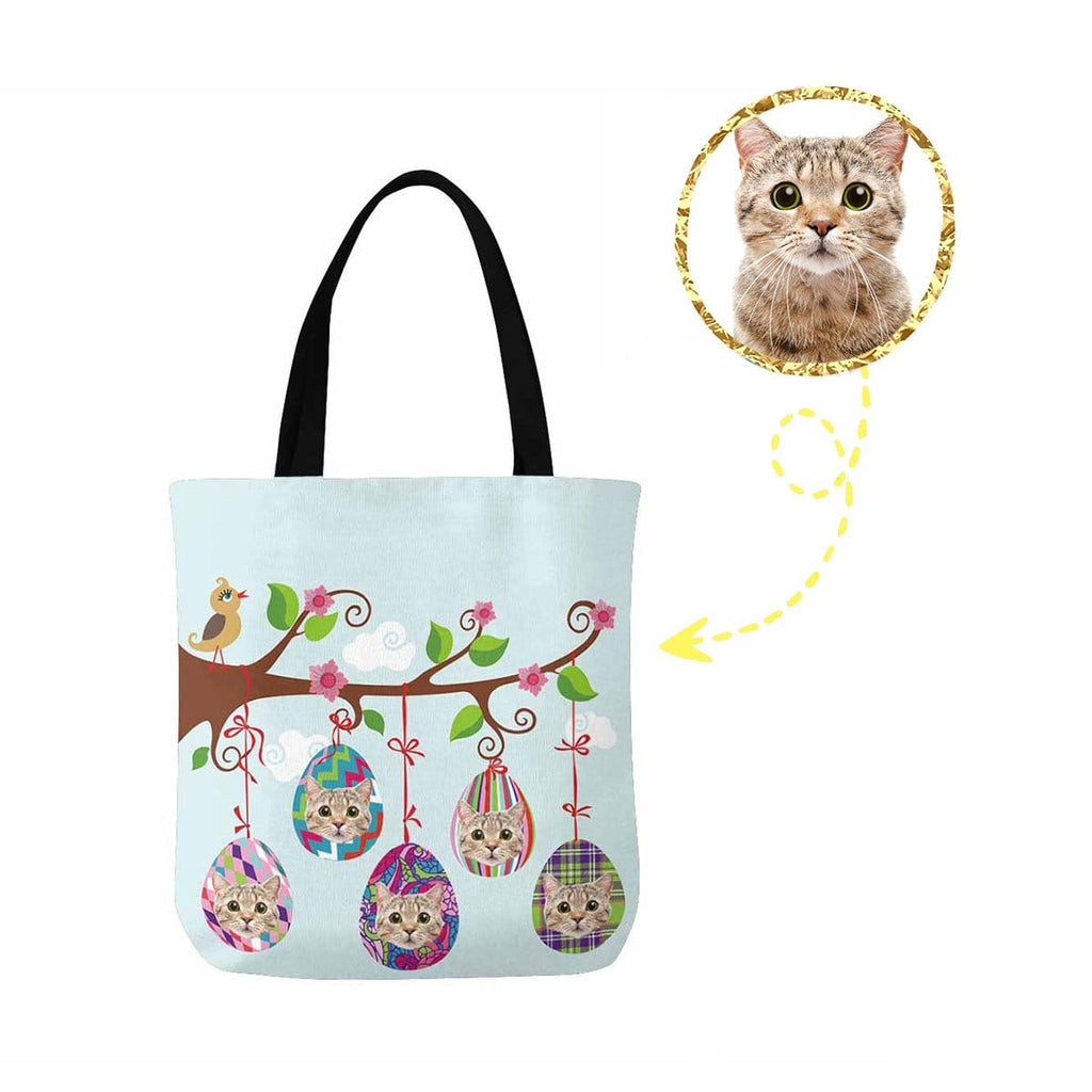 Custom Cat Face Easter Eggs Canvas Tote Bag