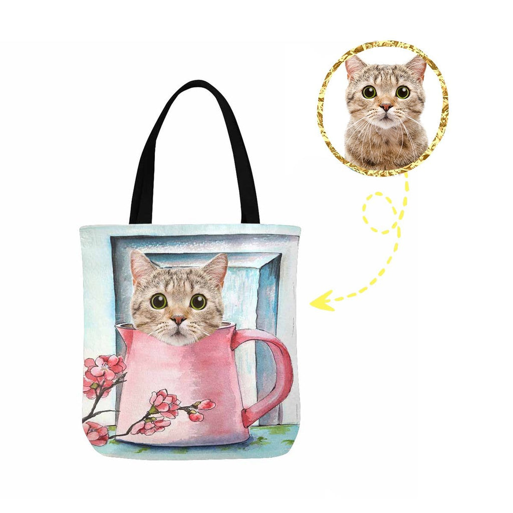 Custom Cute Cat Face Canvas Tote Bag