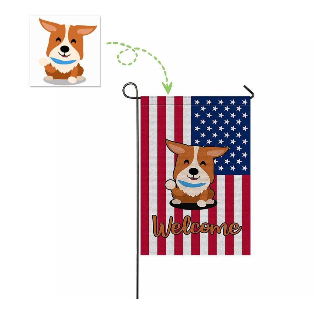 Custom Corgi Face US Garden Flag