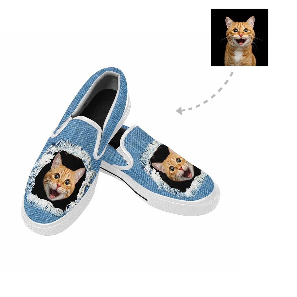 Custom Cat Face Jean Slip-on Canvas Shoes
