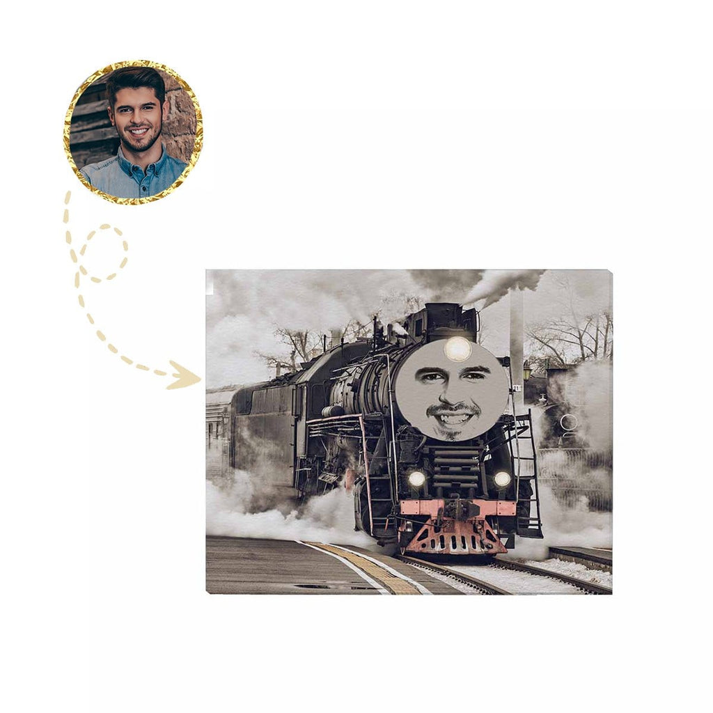 "Custom Face Train Canvas Print 20""x16"""