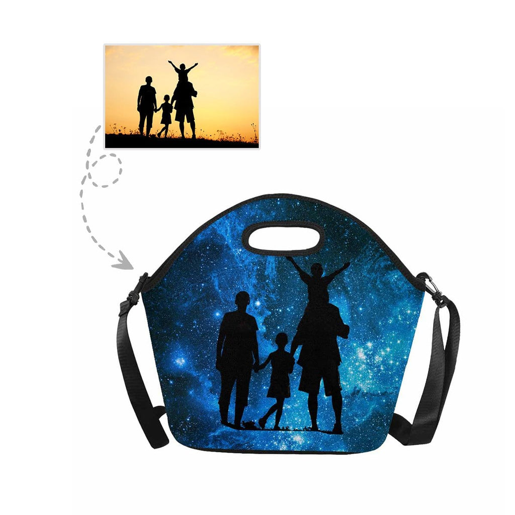 Custom Family Space Galaxy Large Neoprene Lunch Tote