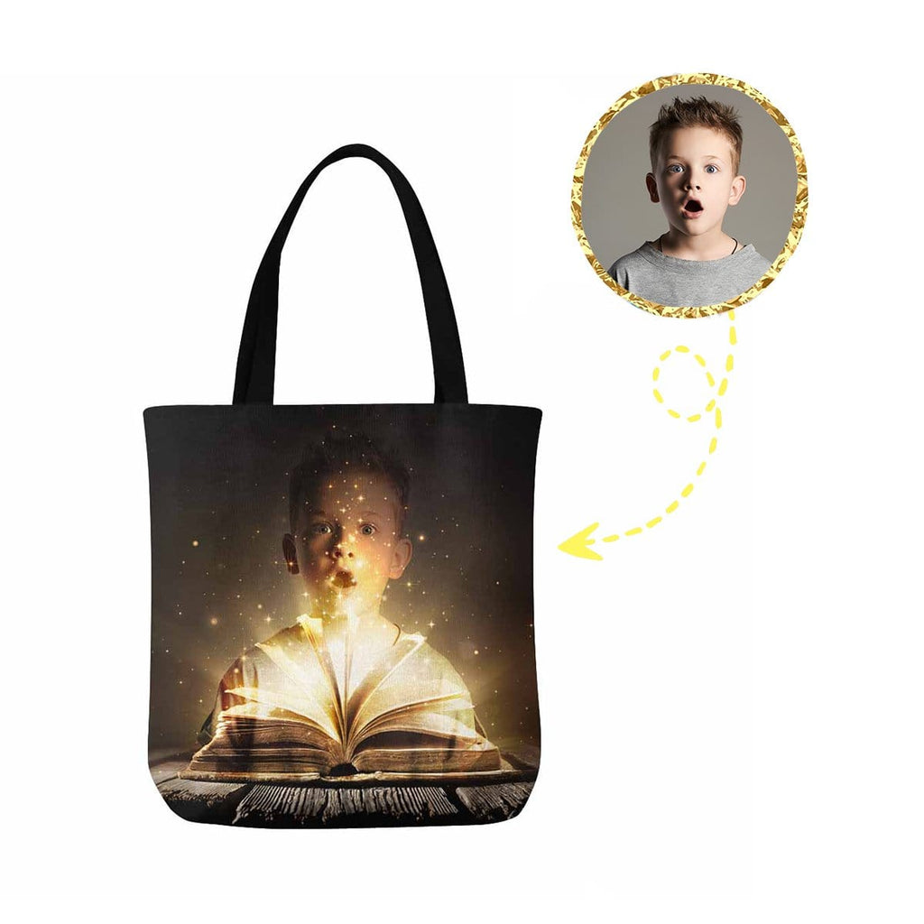 Custom Boy Magic Book Canvas Tote Bag