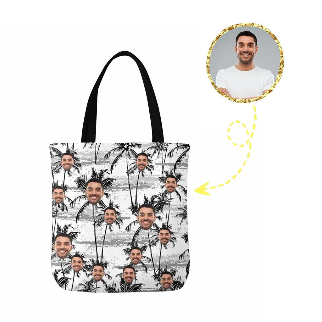Custom Face Black and White Palm Tree Canvas Tote Bag