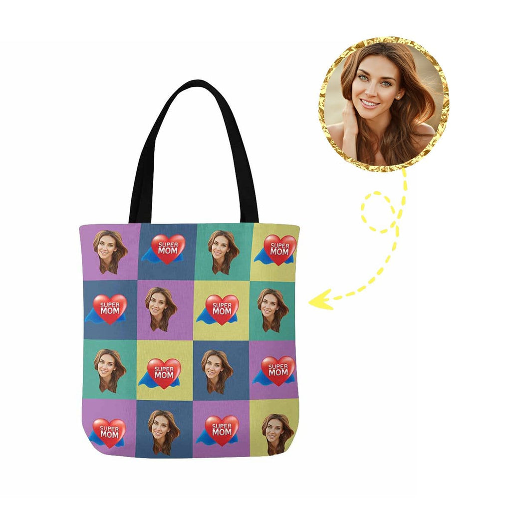 Custom Face Super Mom Canvas Tote Bag