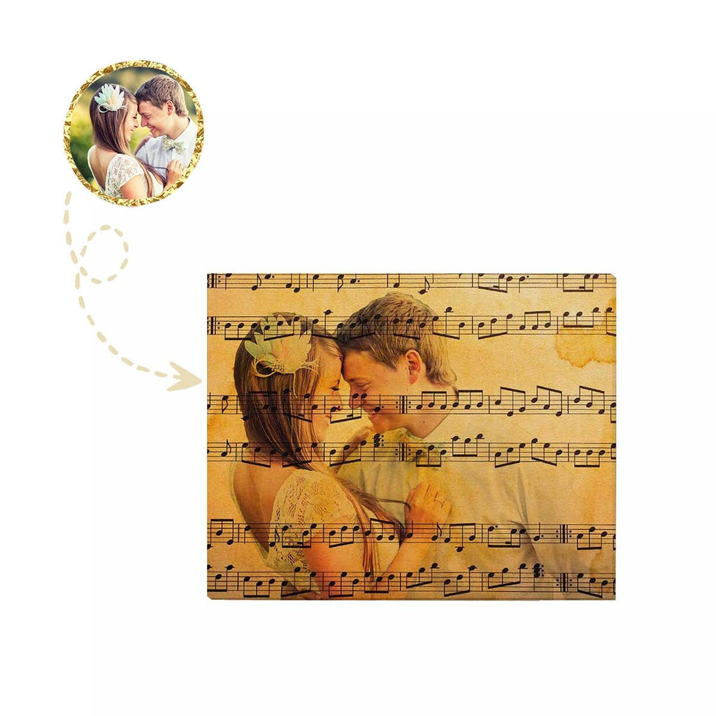 "Custom Couple Face Music Note Canvas Print 20""x16"""